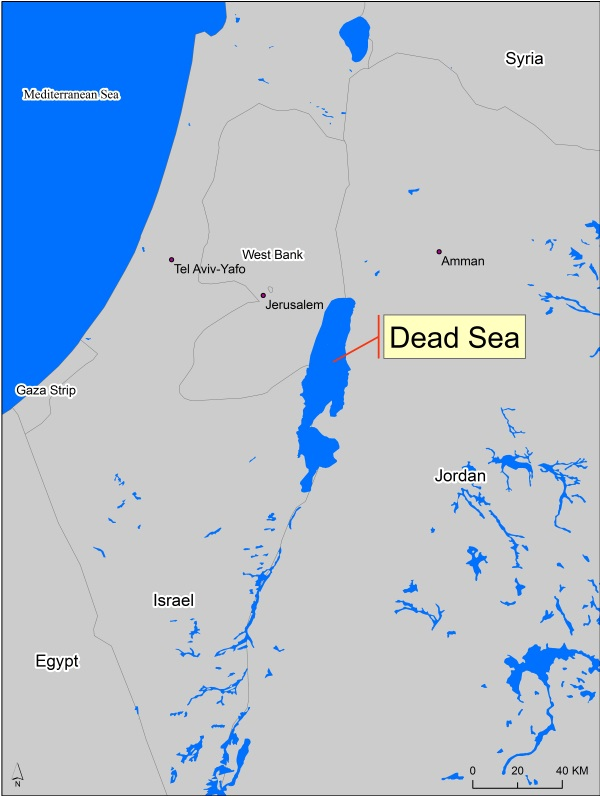 Location of the Dead Sea in between Israel - Jordan - West Bank