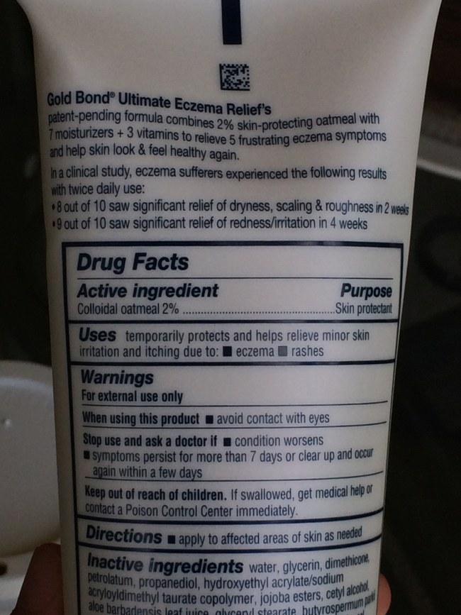 Goldbond oatmeal eczema cream ingredient list